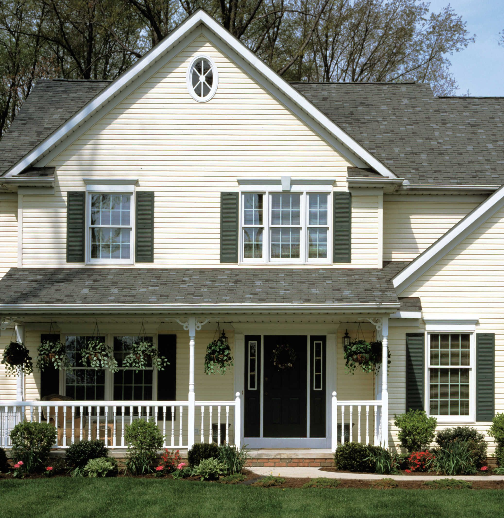 Kaycan Vinyl Siding Ivory Siding With White Trims And Black Railing Warm Classic Neutral Crea Exterior House Colors House Exterior Home Exterior Makeover