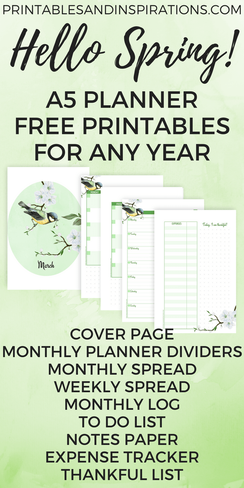 How To Do A Cover Page Free A5 Planner Printables For Any Year  Hello Spring  A5 Planner .