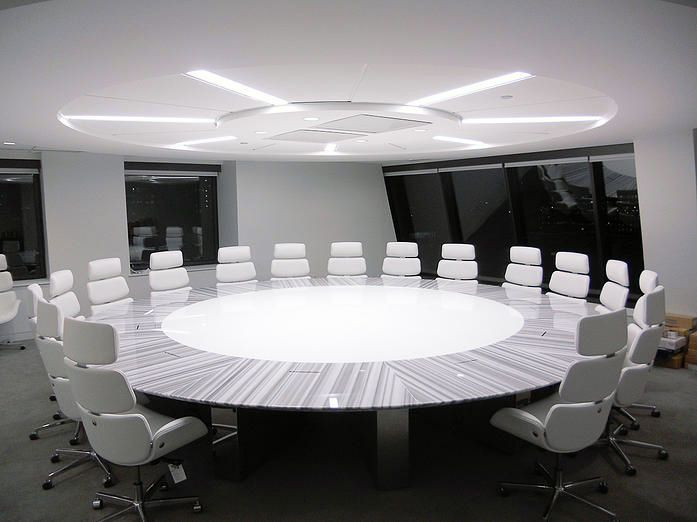 Charmant The Round Table: Lineac Marble And White Corrian Infield For The Creme De  Al Creme Boardrooms.