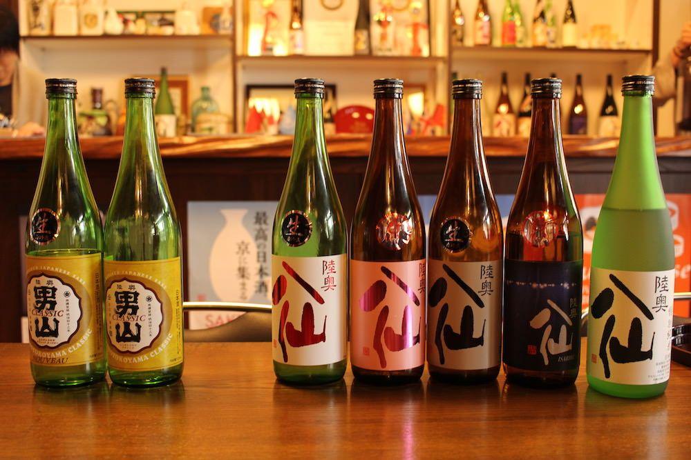 Sake bottles from Hachinohe Shuzo Sake Brewery