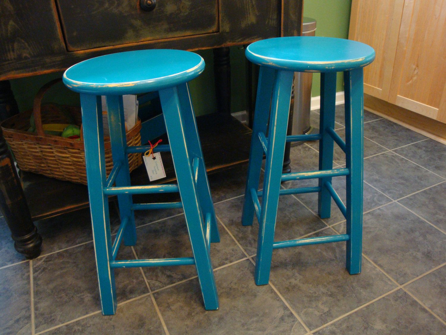PAIR Hand-painted Upcycled Turquoise Stools with a \'shabby chic ...