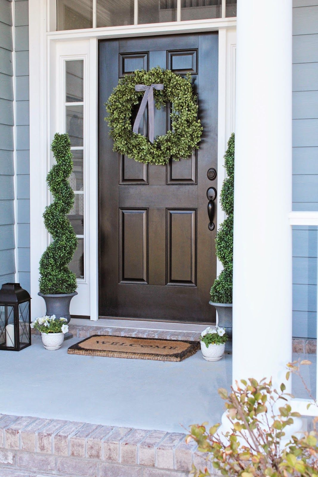 Front Porch Decor And A Little Blue House Boxwood Wreath Topiaries Door Ideas