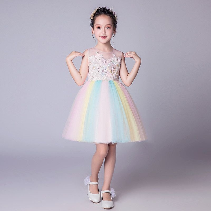 bfcccc415e06 Rainbow Girls Dress Kids Summer Lolita Style Girls Vestido Infantil ...
