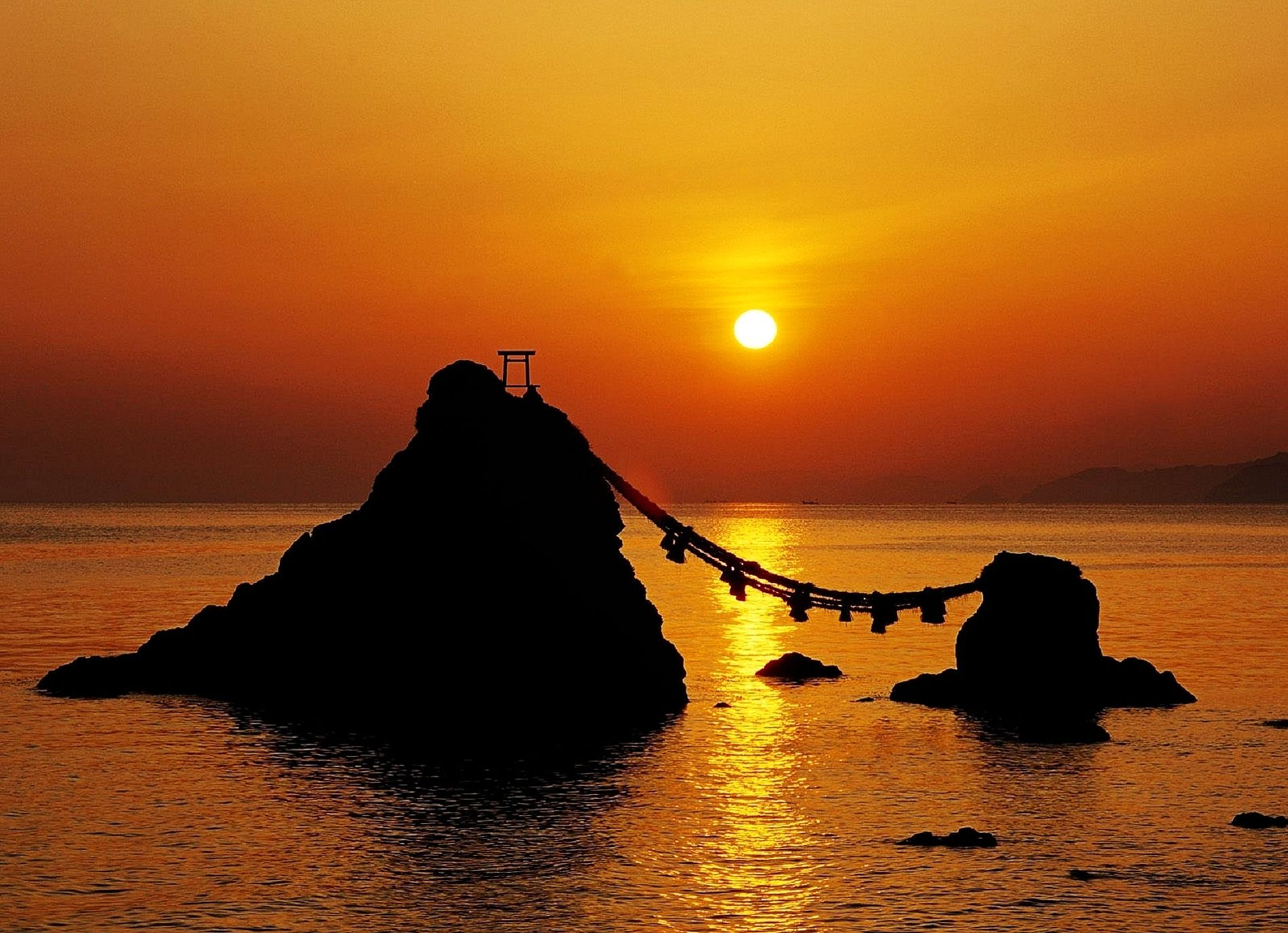 Futami Rope Japan Sunset Sunrise Travel Pictures