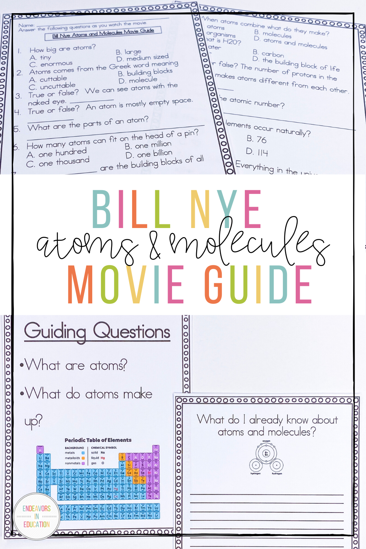 hight resolution of Video Worksheet Bill Nye Atoms and Molecules   Nursing student tips