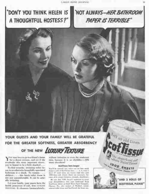 """~ Scott Tissue, 1938 via Flickr """"You may love to go to a friend's home for a dozen reasons, and yet if she overlooks this most important nicety, you're bound to be a little shocked…"""""""