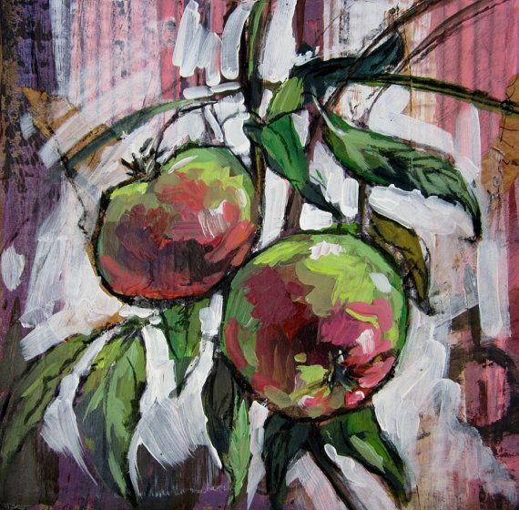 Apples original artwork by ArtworkByIrina on Etsy, $30.00