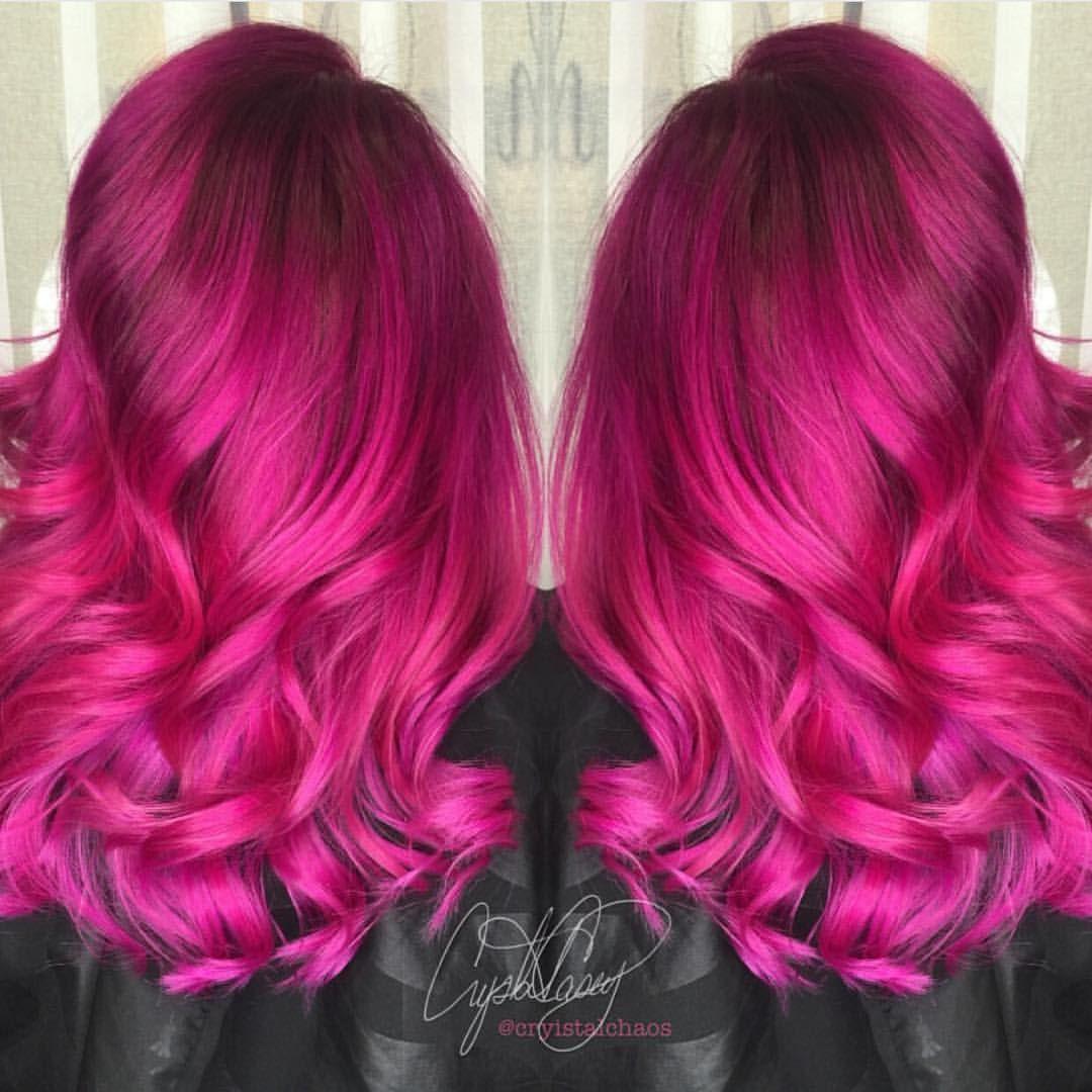 Hot on Beauty sur Instagram Vibrant Fuchsia Hairpainting