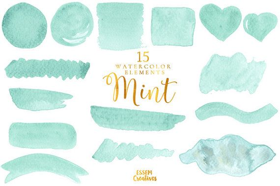 Mint Green Watercolor Clipart Splash Watercolor Graphics Ombre