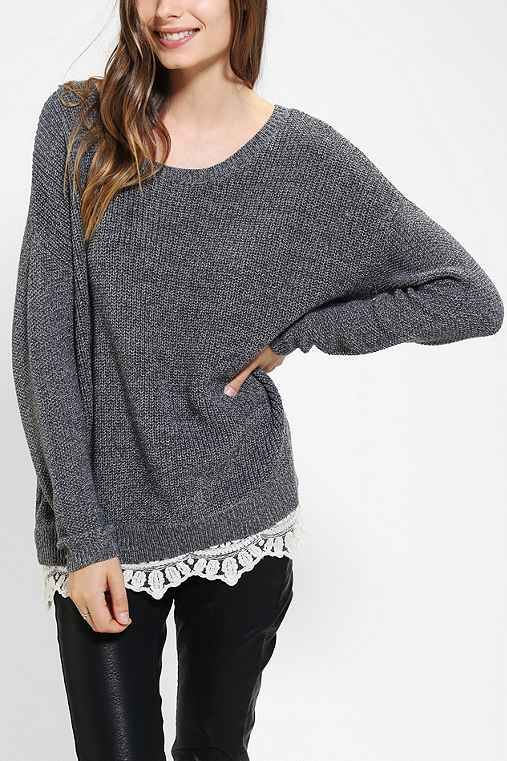 Pins And Needles Lace-Trim Sweater - Urban Outfitters