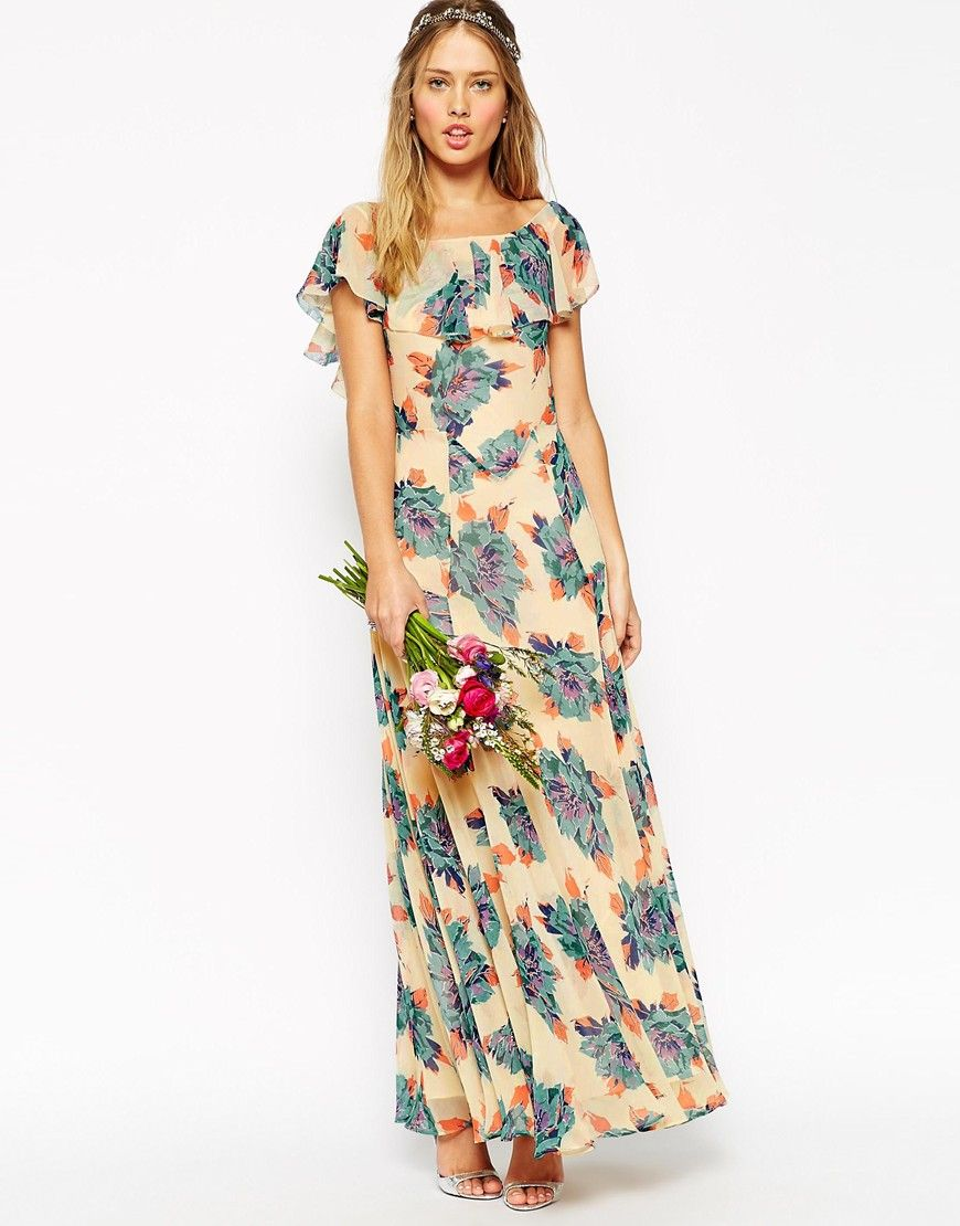 Bridesmaids image 3 of asos wedding maxi dress with frill for Floral print dresses for weddings