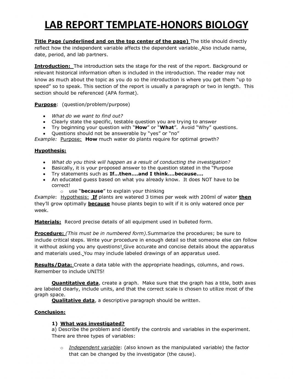 Bio Lab Report Sample