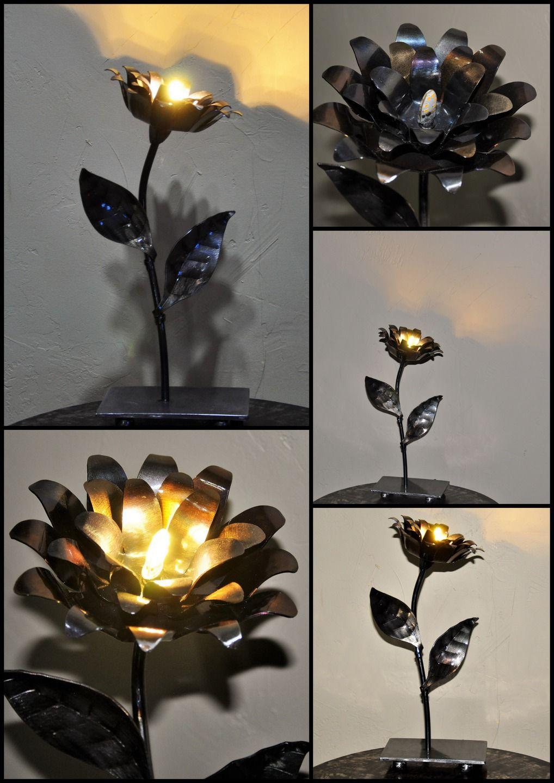 lampe fleur en métal : Luminaires par blandin