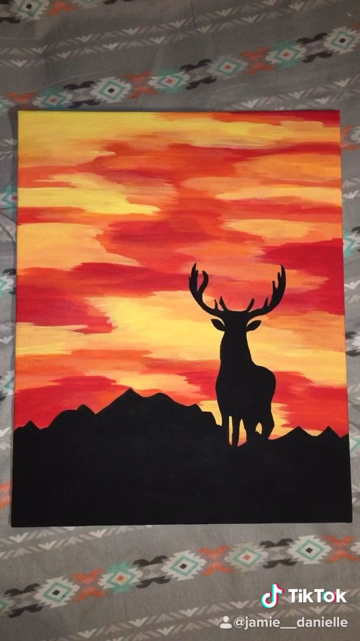 Deer Sunset Painting Video In 2020 Sunset Art Painting Canvas Painting Elephant Painting Canvas