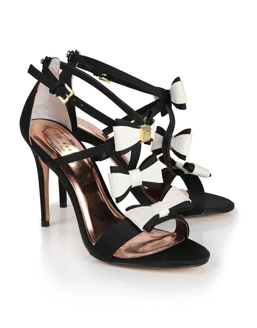 f61d28b6695 Ted Baker Women s Appolini Triple Bow Detail Heeled Sandals - Black White