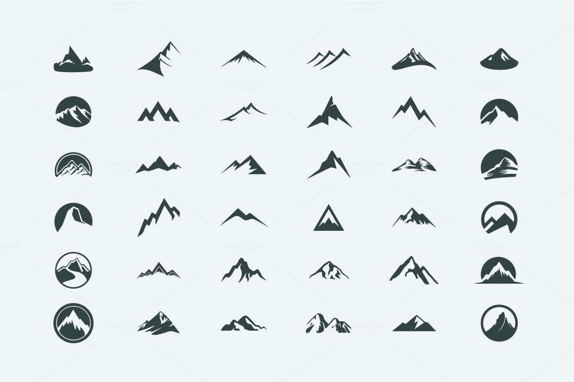 Pack Of 12 Mountains Logo 62 Icons By Alicenoir On Creative Market