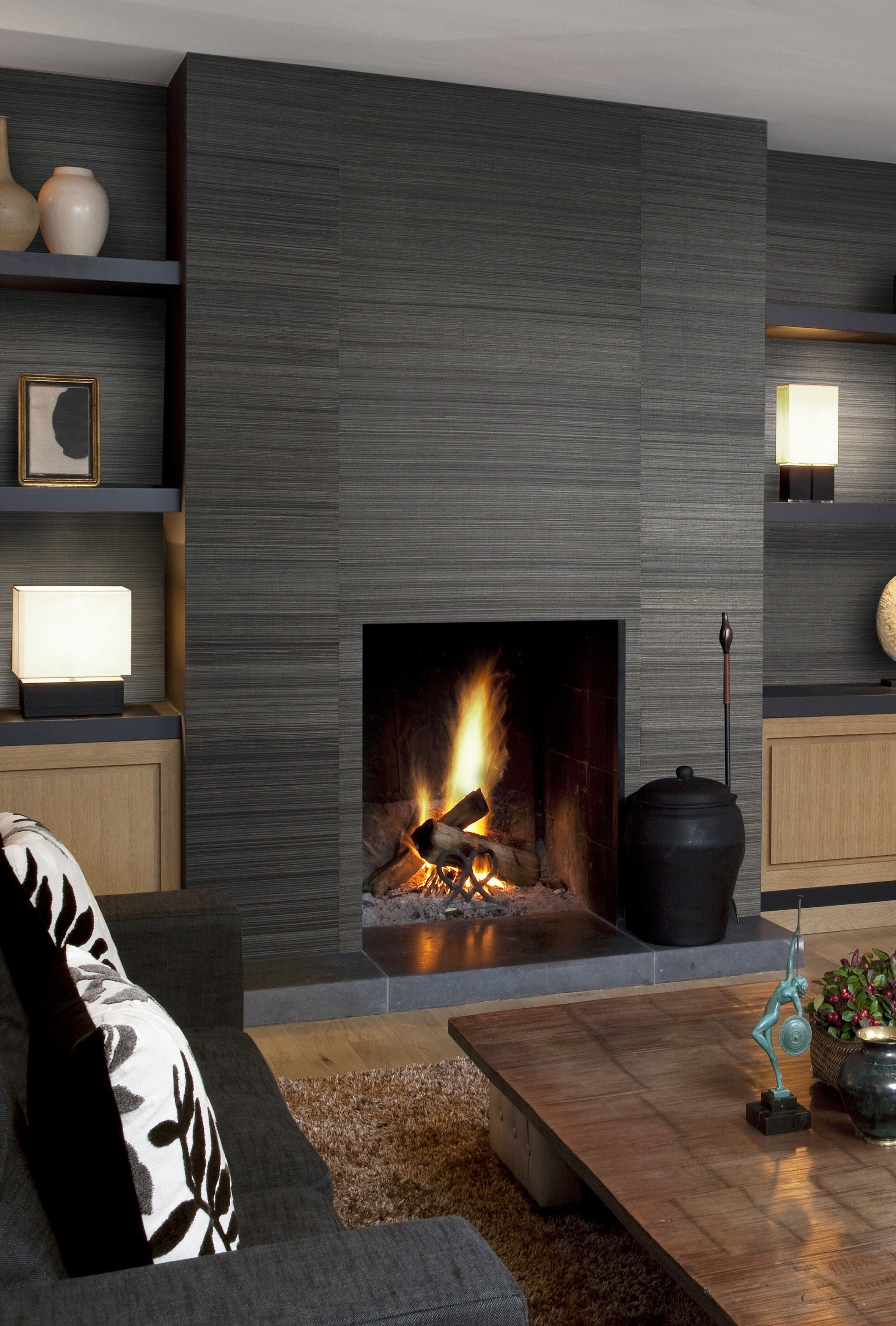 Sumatra Abaca Metal Feature Wall Living Room Luxurious Bedrooms Living Room Fireplace Wallpaper
