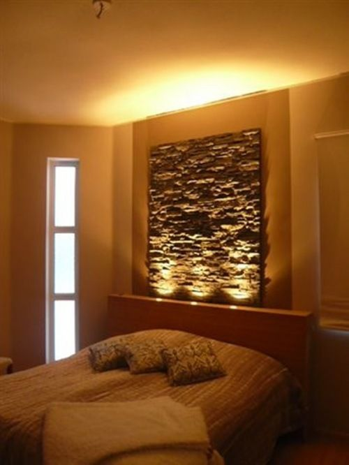 like this idea but with slate rock as a headboard