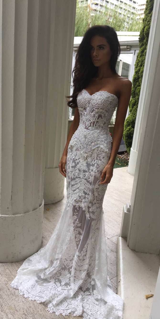 Wedding dresses for a beach wedding  Charming SheathColumn Sweetheart Court Train Lace Wedding Dresses