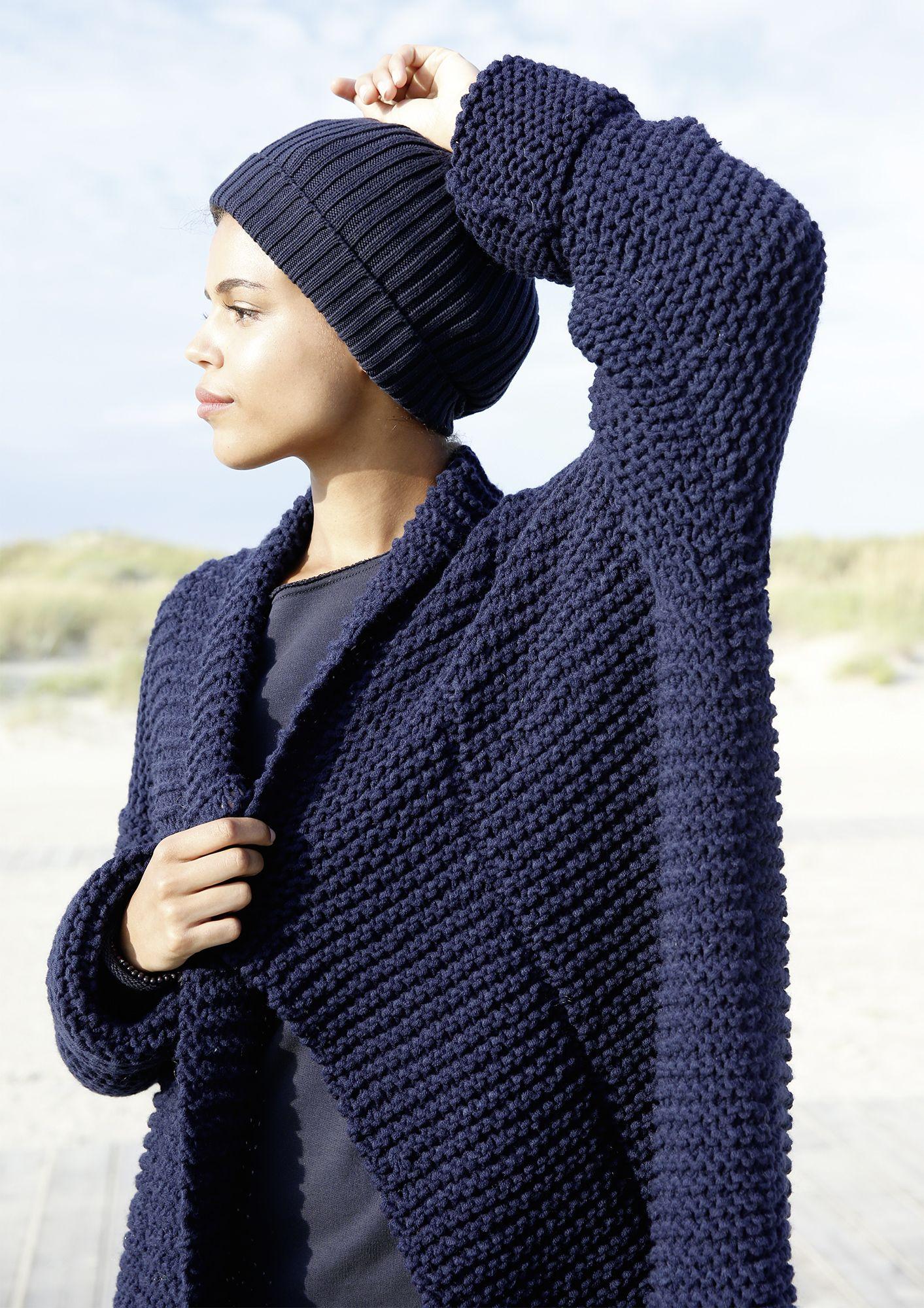 Weiter kraus gestrickter Mantel | Schalkragen stricken