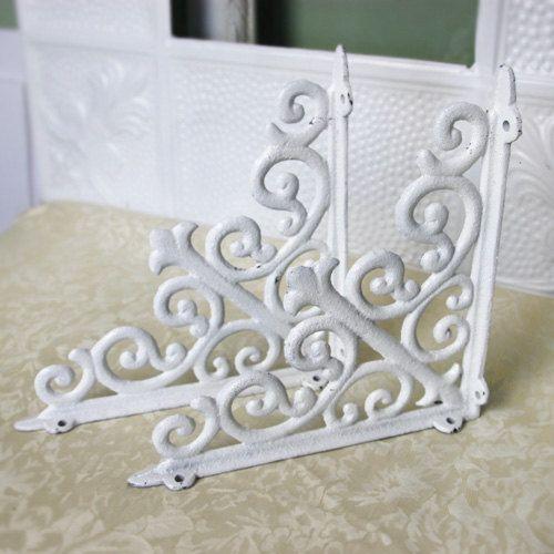 Shelving Bracket Set White 10x10 Cast Iron Cottage