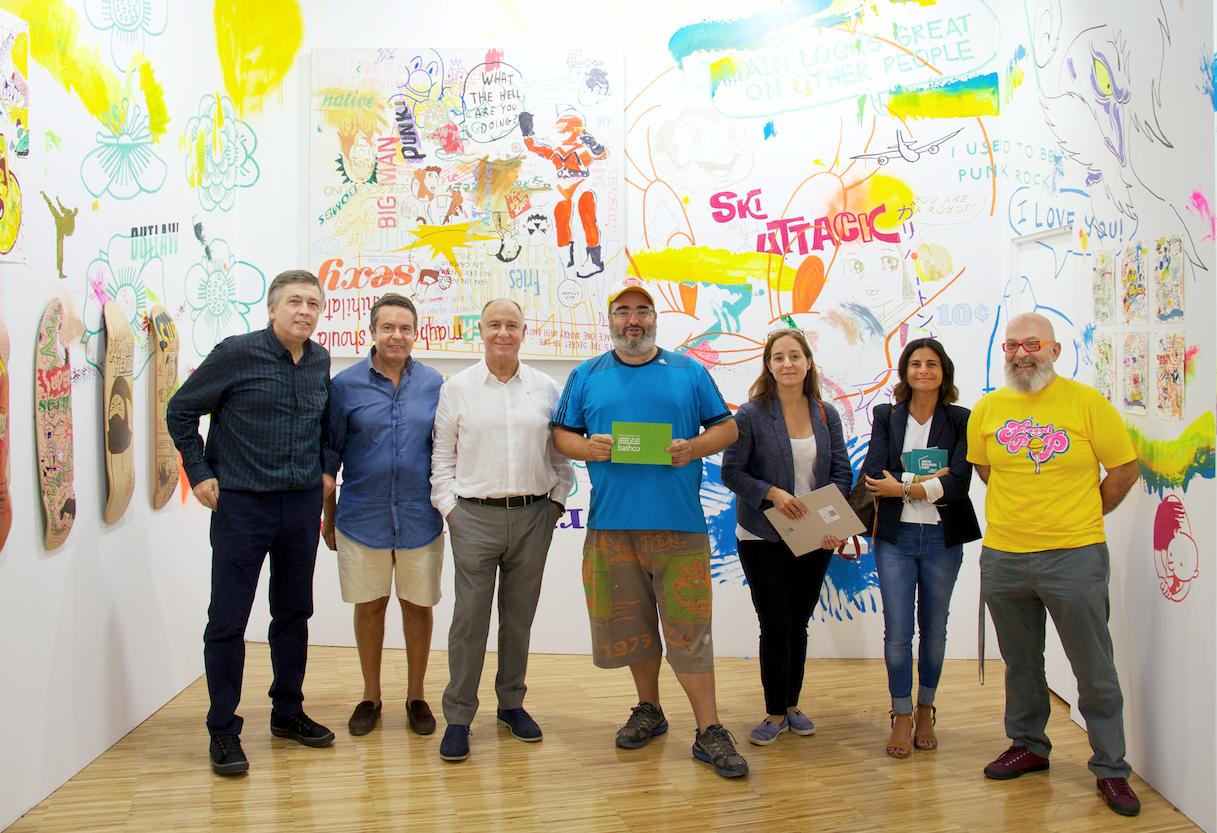 Entrega del Premio de Arte Contemporáneo Bathco - Juan González de Riancho, ___, José López, Judas Arrieta, Marta Gómez, Ana del Barrio y Fernando Centenera.
