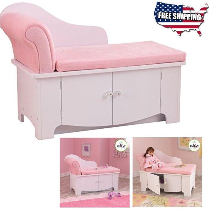 Girls Princess Chaise Lounge Sofa Kids Toy Bedroom Furniture Storage Box  Pink #KidKraft