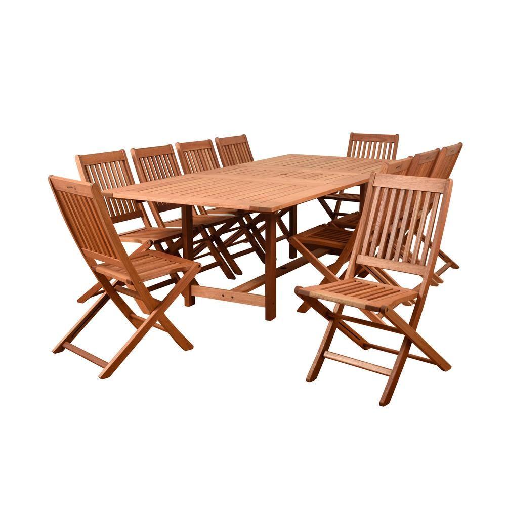 Amazonia Coronado 11 Piece Wood Rectangular Outdoor Dining Set Bt542 10bt239 The Home Depot Outdoor Furniture Outdoor Dining Set Patio Dining Furniture