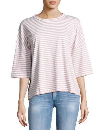 Striped Oversized Tee, White/Air Pink