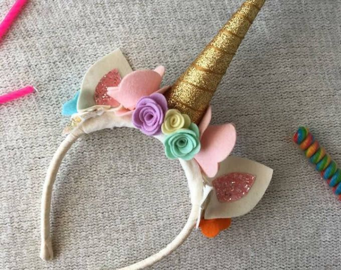 Gold Rainbow Unicorn Headband with Pony Ears, 100% Merino Wool Felt