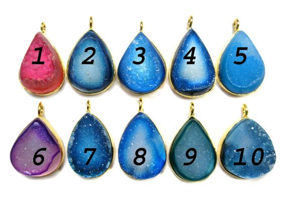 24 kt Gold Plated Druzy Pendants  1 piece of fine by finegemstone, $15.00