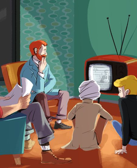 """ah...Johnny Quest! Image of """"Quest Family Time"""" by Kiku Hughes - Paper (12"""" x 20"""")"""