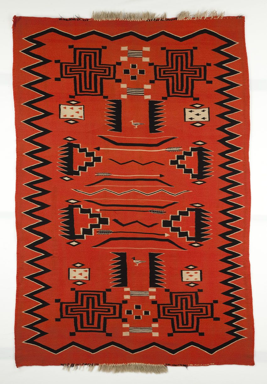 Navajo Woven Rug With Playing Card Imagery