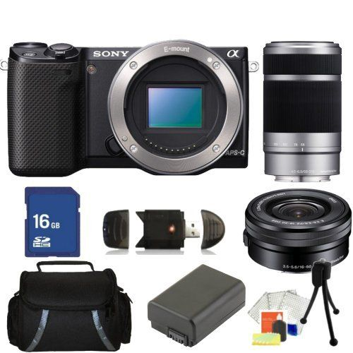 Sony Nex 5rk B 16 1 Mp Compact Interchangeable Lens Digital Camera Black With 16 50mm And 55 210mm Lenses Also I Memory Card Readers Sony Nex Digital Camera