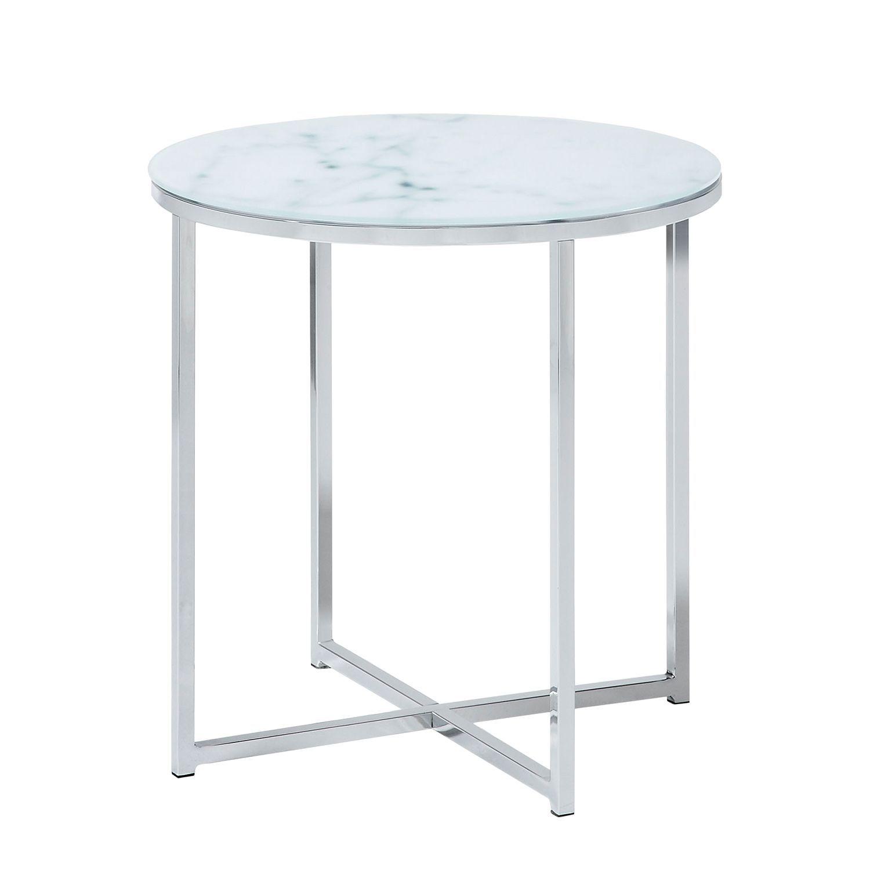 Beistelltisch Monticello Glas Stahl Marmor Dekor Chrom