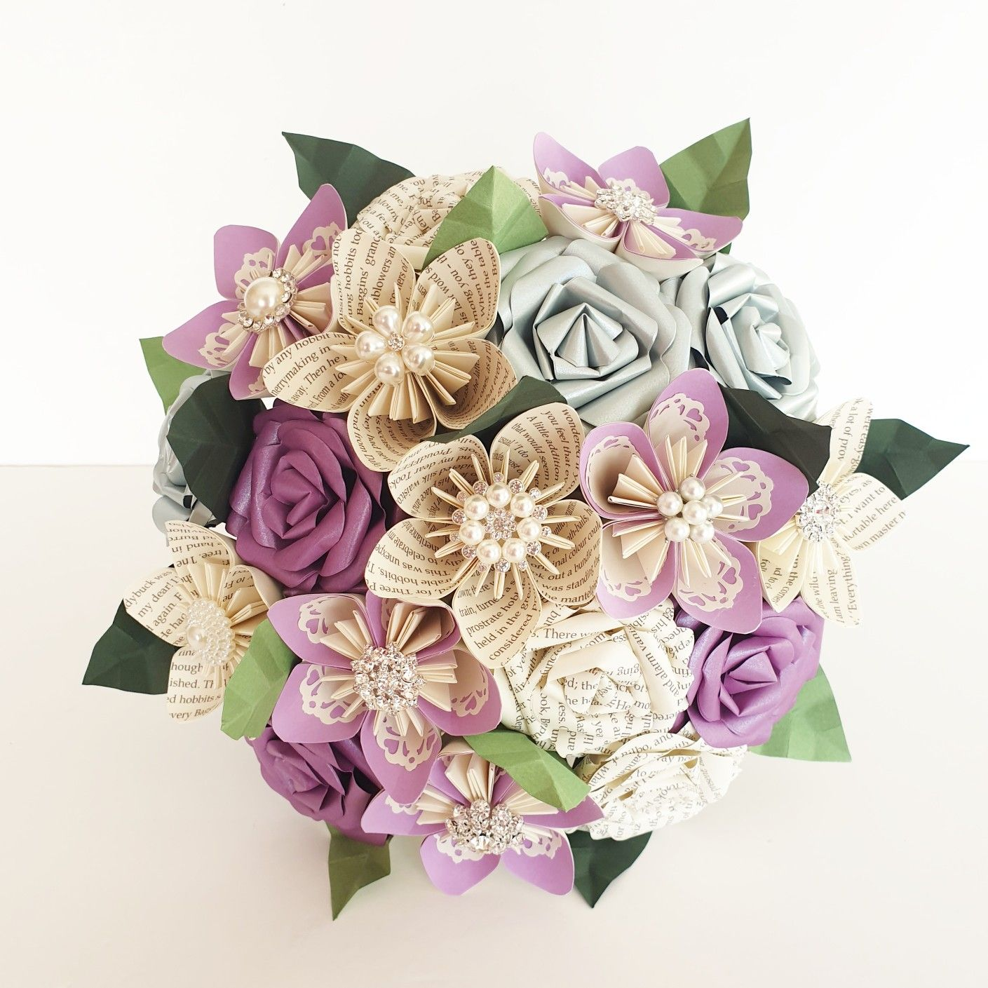 Lilac Purple Book Bouquet Paper Flowers In 2020 Paper Flowers Wedding Bouquet Paper Flowers Wedding Flower Bouquet Wedding