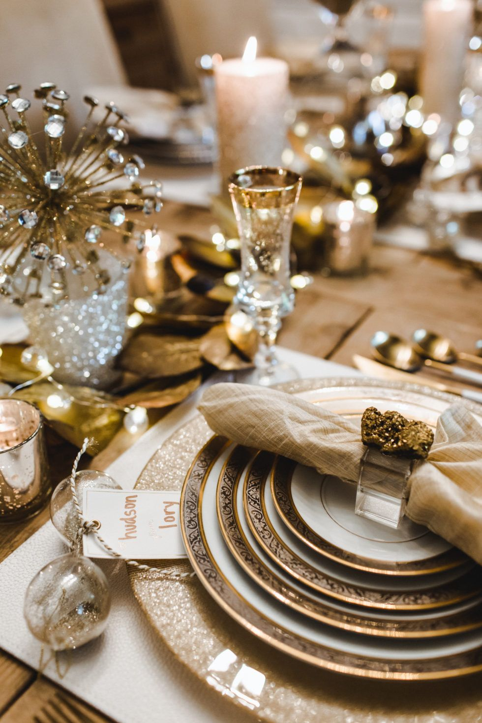 A Sparkly Gold And Glamorous New Year S Eve Dinner And Tablescape New Years Eve Dinner Dinner Party Table Settings New Year Table