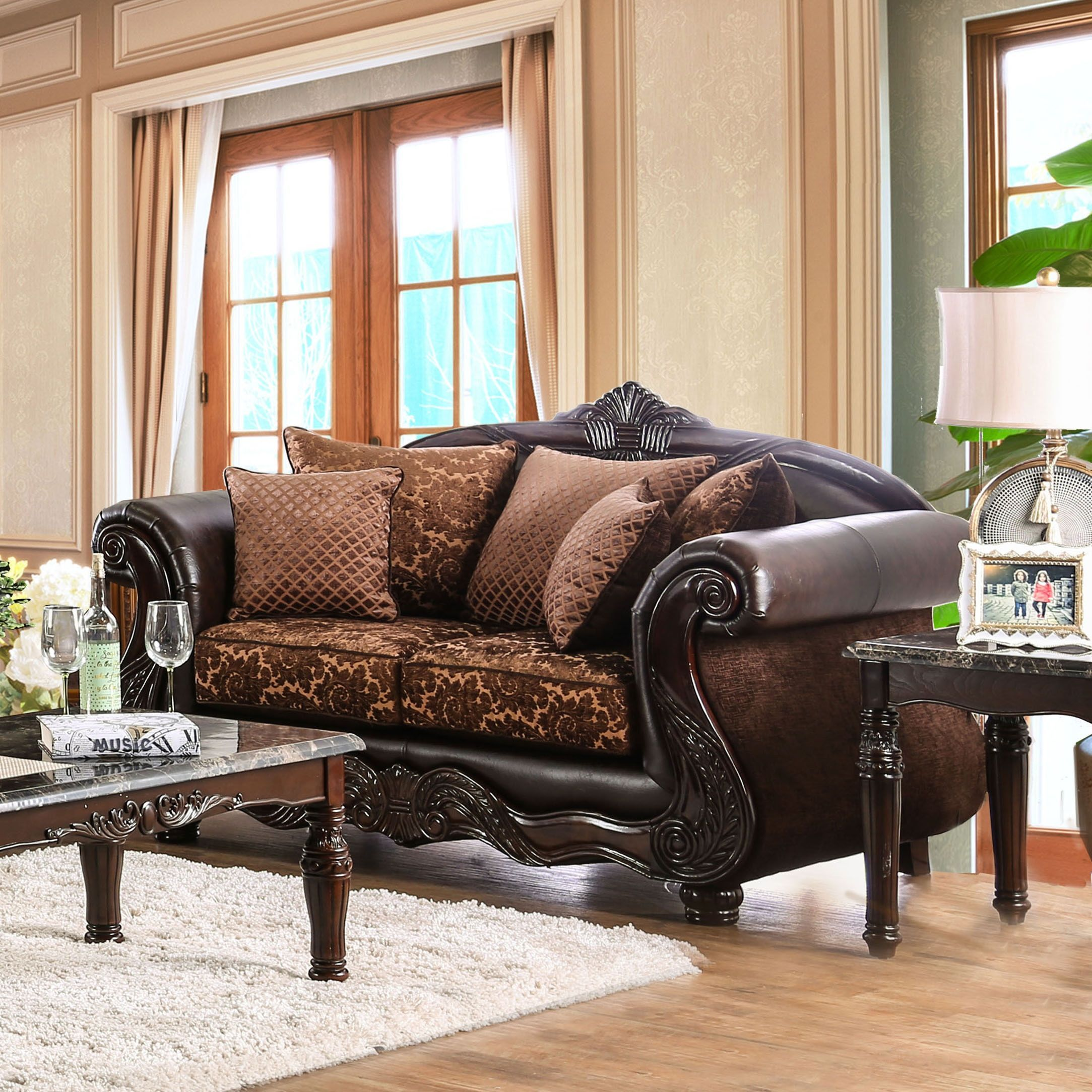 Furniture of america besser traditional chenille fabric and faux leather brown loveseat brown
