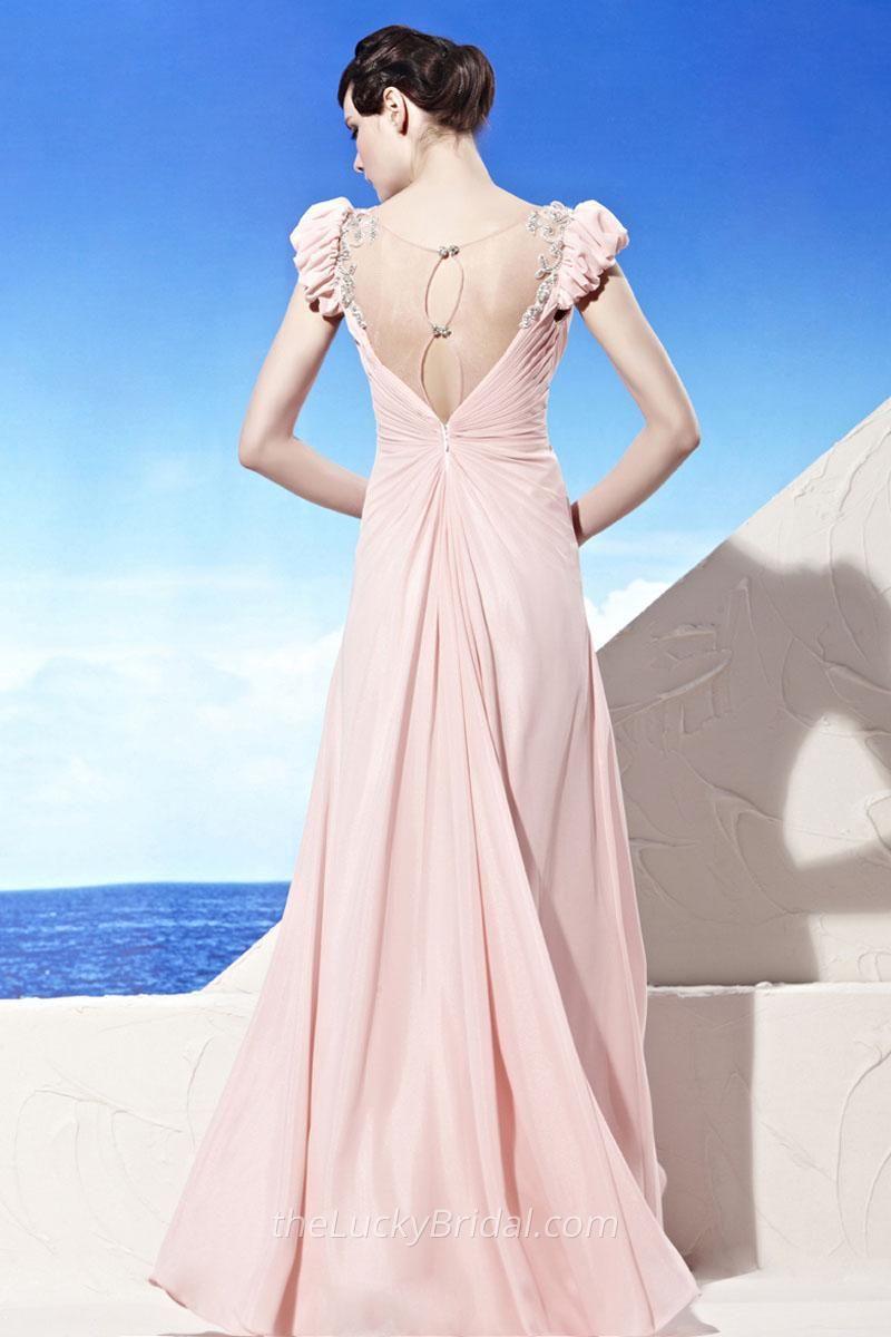 V neck long pink chiffon evening dress puffy new york garden