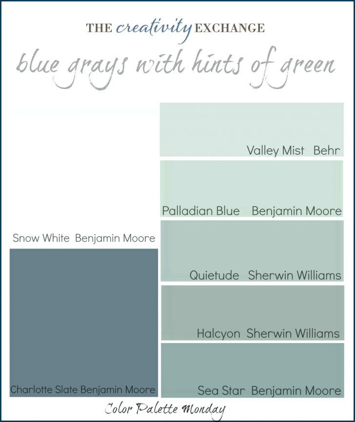 Printable Color Palette Of Gray Blues With Hints Green Monday Theblue Paint  Colors Sherwin Williams Blue