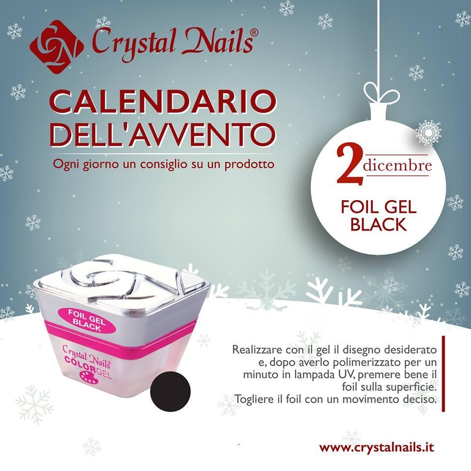 Calendario dell'avvento Crystal Nails - 2 dicembre - #crystalnails #foil #gel #black #christmas