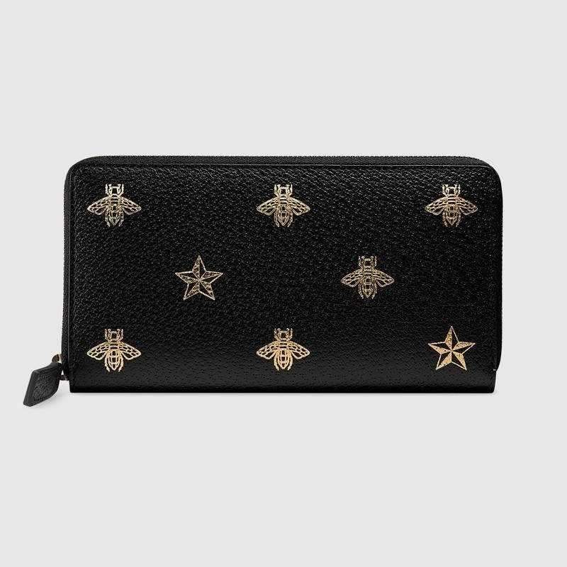 Gucci Bee Star Leather Zip Around Wallet Zip Around Wallet Wholesale Purses Wallet Fashion