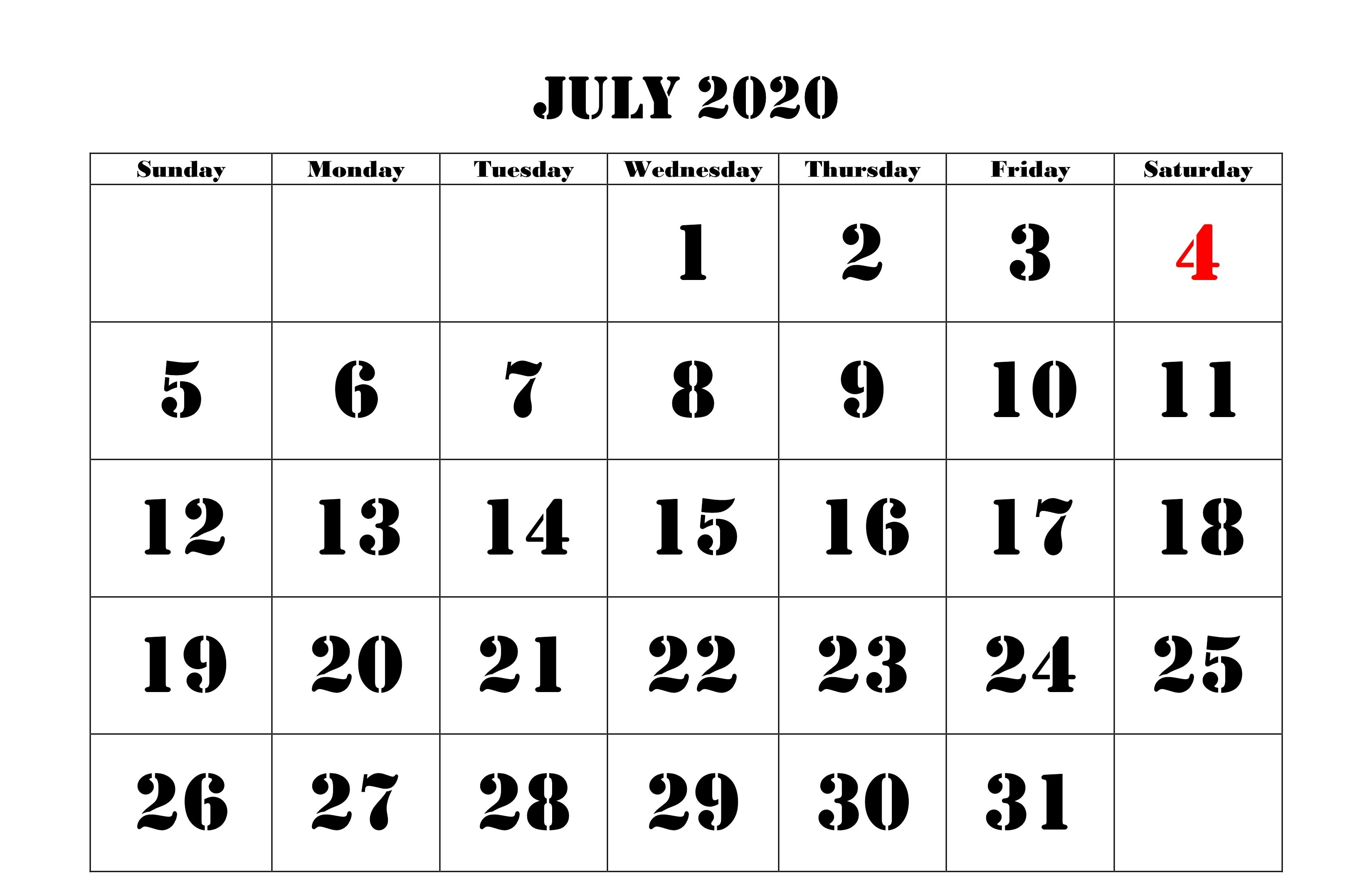 July 2020 Calendar Pdf Word Excel Printable Template Monthly