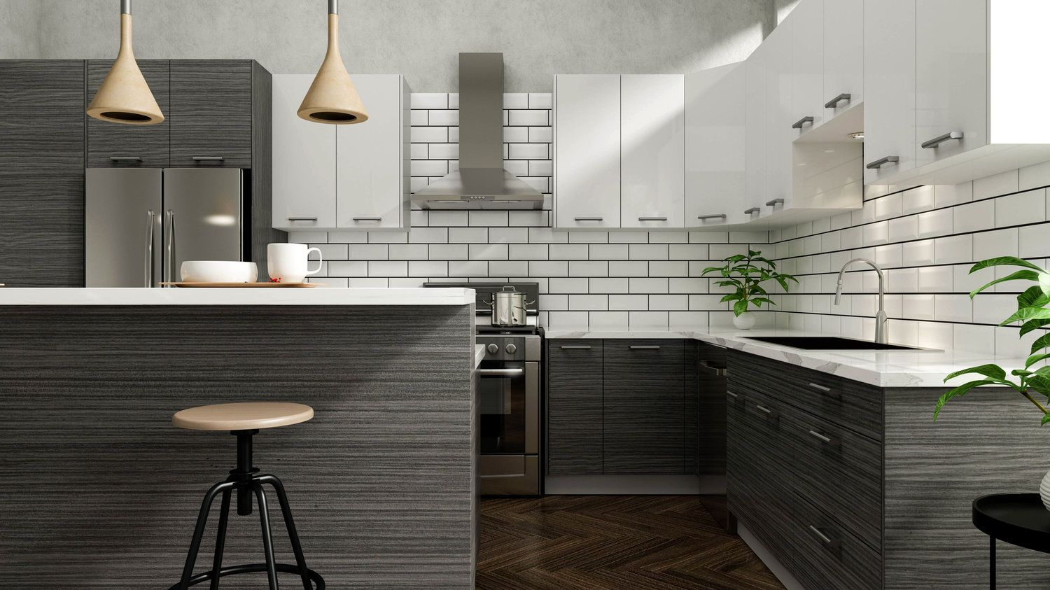 Dark Wood Door Style Slab Horizontal Wood Grain Actual Thickness 18mm Laminate On Both Side Of Pan Kitchen Remodel Kitchen Renovation Affordable Cabinets