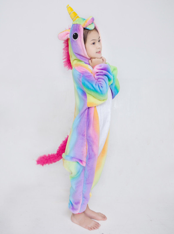 c6176090b New Rainbow Kids Unicorn Kigurumi Pajamas Fox Cos Costume Onesiee ...