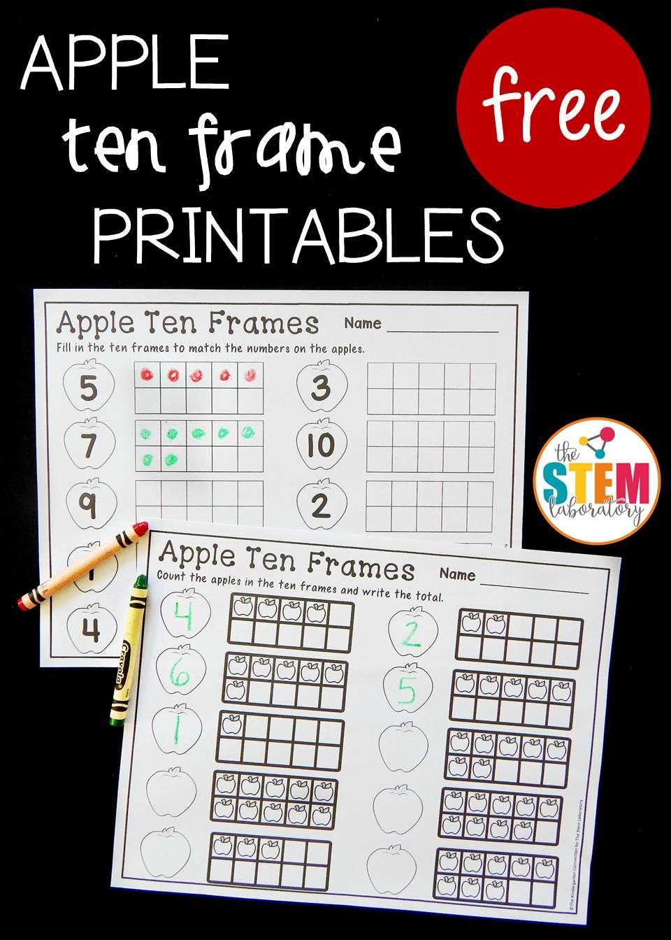 Free Apple Ten Frame Sheets Fun Number Recognition And Counting