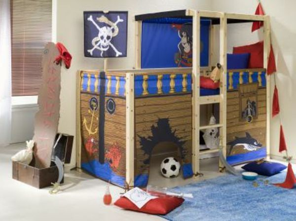 Fresh hochbett pirat treppe im kinderzimmer blaue farbe