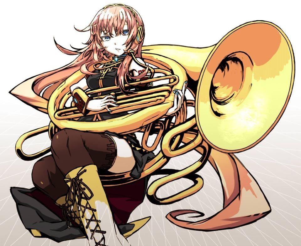 An anime playing a golden sousaphone