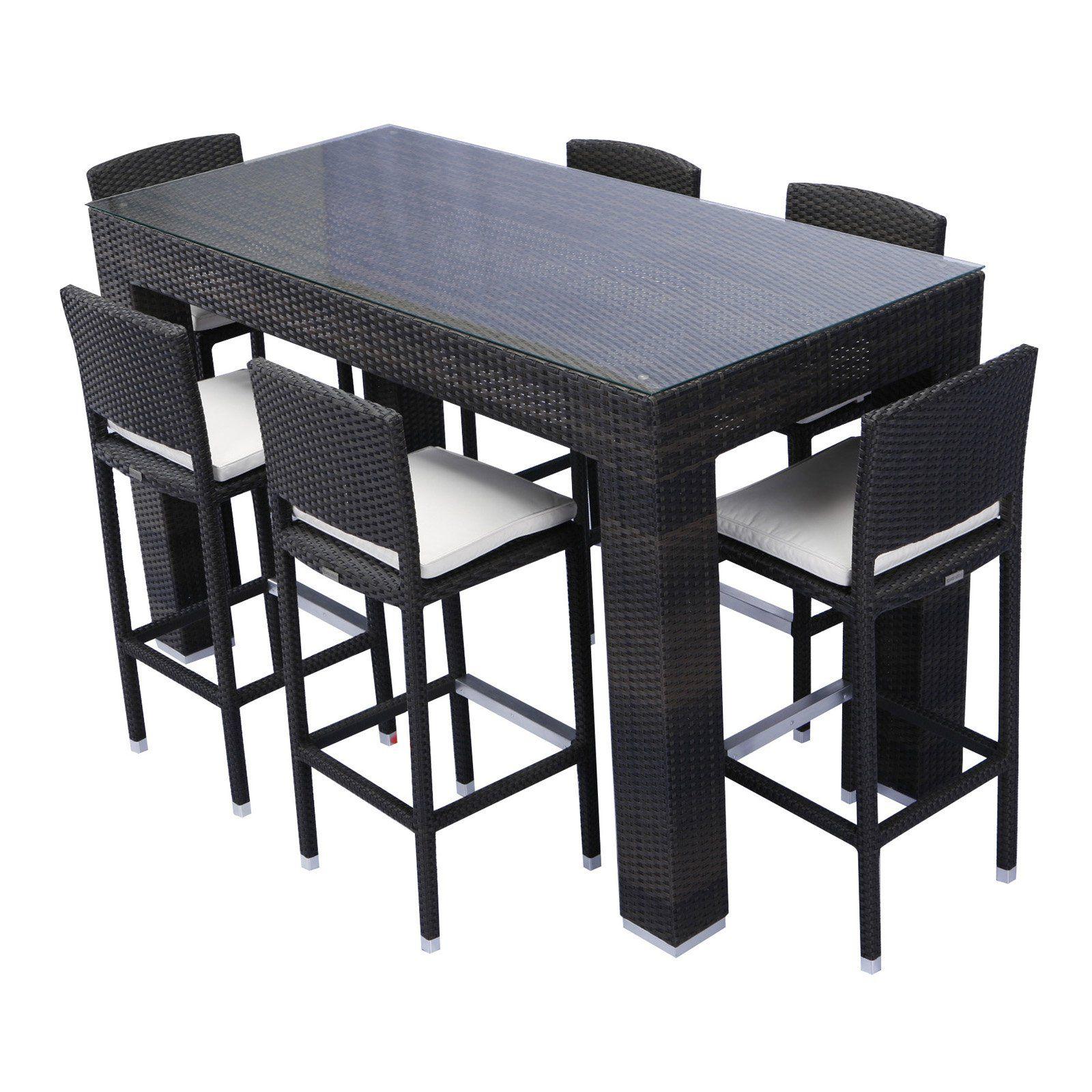 Source Outdoor Bar Height Patio Dining Set Seats 6 Hd 08166