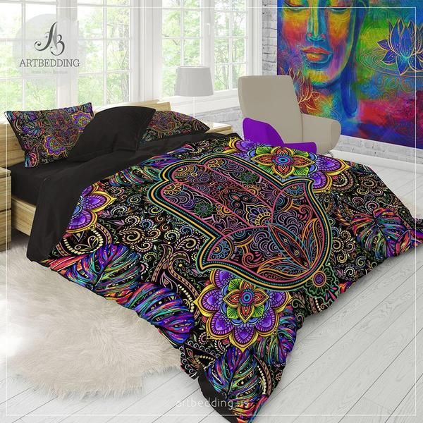 Rainbow hippie bedding, Hamsa hand Mandala bedding, Tropical amulet hippie mandala comforter set, bohemian bedroom decor is part of bedroom Decoration Hippie -  bath products  Freel free to share your ideas; Thank you so much for looking at my duvet cover sets !